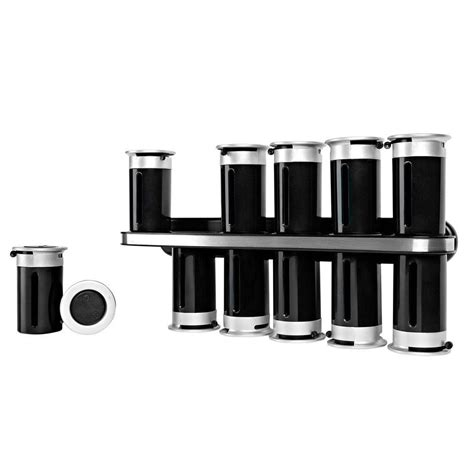 Zevro Spice Rack zevro zero gravity 12 canister wall mount magnetic spice
