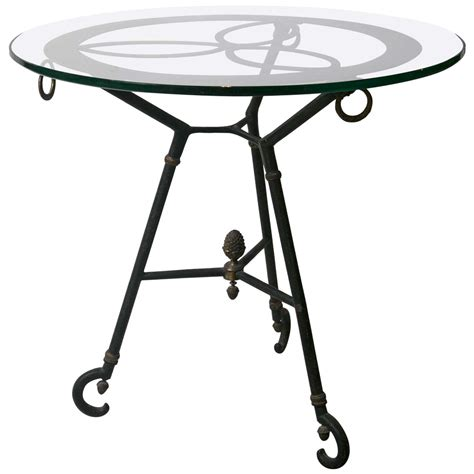 glass and iron table vintage glass top iron table for sale at 1stdibs