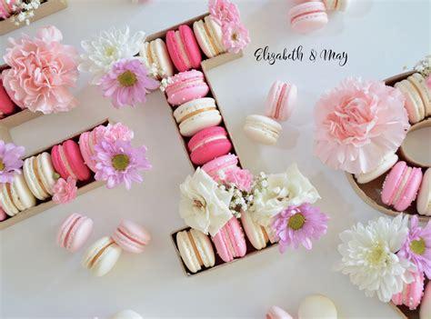 macaron monogram pretty macarons   shape   letter  fresh flowers pink  white