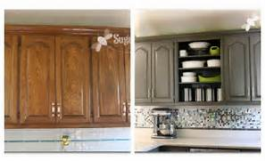 Painted Kitchen Cabinets Before And After Grey by Remodelaholic Home Sweet Home On A Budget Kitchen Cabinet Makeovers