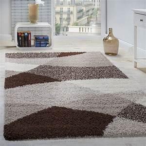 Shaggy Hochflor Teppich : shaggy teppich hochflor langflor weich geometrisch gemustert braun beige creme teppiche hochflor ~ Markanthonyermac.com Haus und Dekorationen