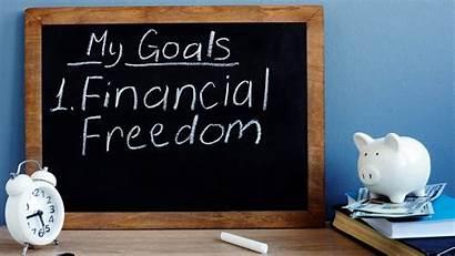 Financial Freedom Goals Written Blackboard Ano Independence