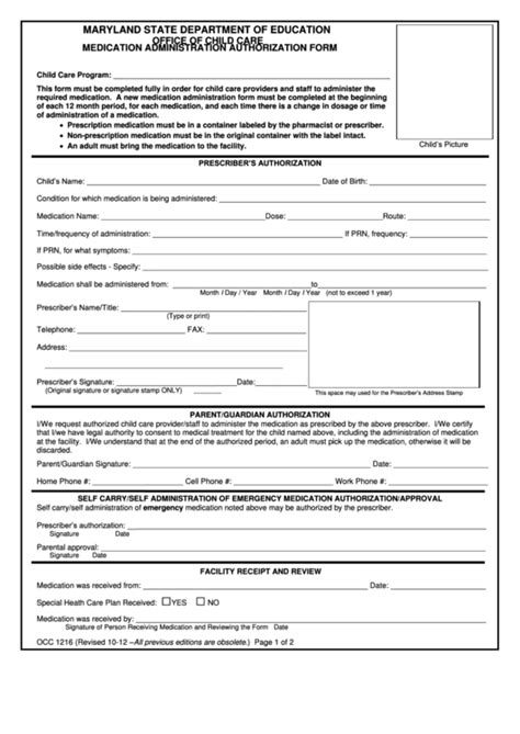 child care medication authorization form fillable form occ 1216 medication administration