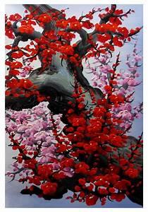 Cherry blossom wall art, Japan cherry blossom art, red ...