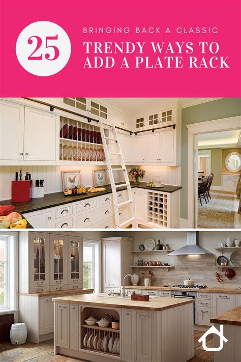 bringing   classic  trendy ways  add  plate rack   kitchen inspirations
