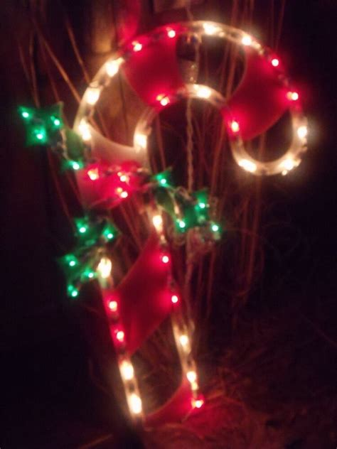 christmas outdoor lighted candy cane holly berry sign