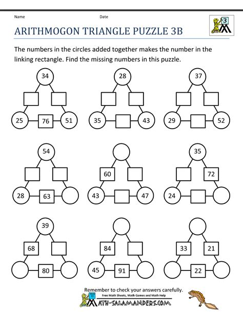math puzzle sheets math puzzle worksheets 3rd grade