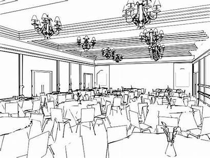 Dining Outline Sketch Interior Vector Illustrations Clip
