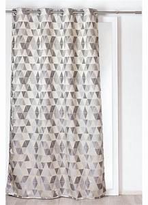 Rideau Avec Ruflette : rideau avec motifs triangles gris beige anthracite ~ Premium-room.com Idées de Décoration