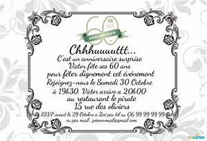 Faire Part Anniversaire 60 Ans : invitation anniversaire surprise 60 ans 123 cartes ~ Edinachiropracticcenter.com Idées de Décoration