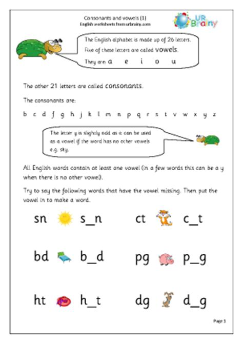consonants and vowels english worksheet for key stage 1