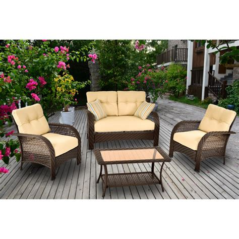 Patio Furniture Sets Walmart by Mainstays 4 Patio Conversation Set Walmart