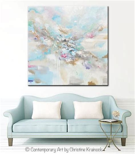 original abstract blue white painting large 48