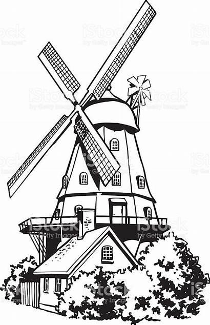 Windmill Dutch Clipart Cartoon Mill Wind Mulino