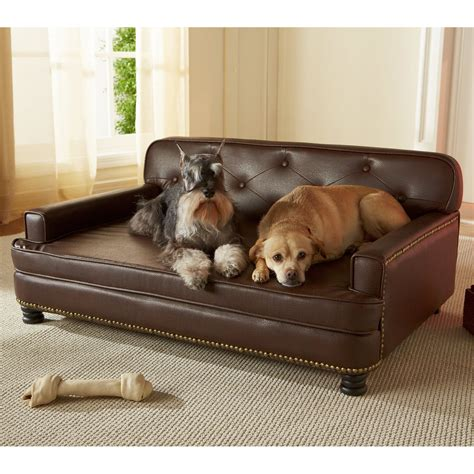 chien canapé enchanted home pet library sofa pet bed brown pebble