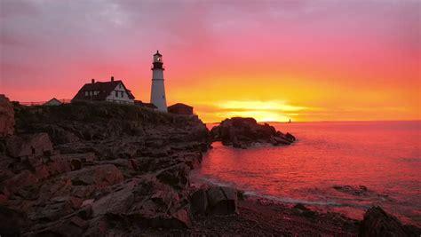 colored lighthouse  landscape image  stock photo