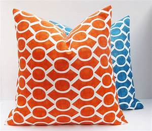 Decorative throw pillows covers orange pillow by eastandnest for Orange and blue decorative pillows
