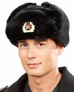 Faux Fur Russian Ushanka Hat With Badge For Men