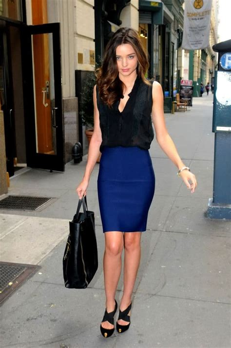 Miranda Kerr. professional classy sexy outfit. love the blue pencil skirt.   Style   Pinterest ...