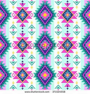 Neon Multicolor Tribal Navajo Vector Seamless Stock Vector ...