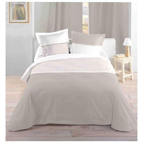 parure de lit couleurs blanc 220x240 housse de couette 2 taies 63x63 100 coton bicolor