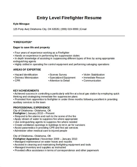 Firefighter Resume Templates by 7 Firefighter Resume Templates Pdf Doc Free