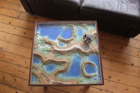 topographic coffee table inspired by minecraft