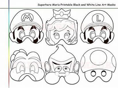 Mario Coloring Superhero Printable Masks Mask Line