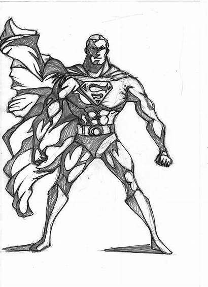 Superman Pencil Sketch Cartoon Sketches Awesome Draw