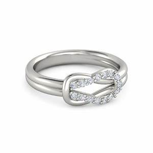 palladium ring with diamond loop knot ring gemvara With wedding ring generator