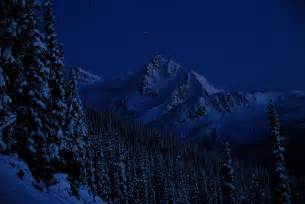 Snowy Mountains at Night