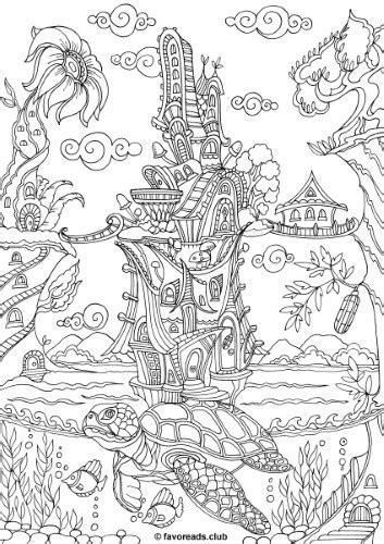 land  fantasia turtle printable adult coloring