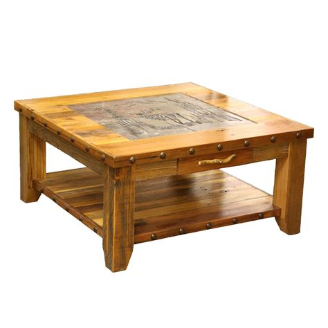 wooden table with tile top barnwood elk scene tile top coffee table with nailheads