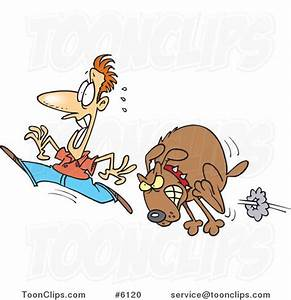 Cartoon Guy Running from a Mad Dog #6120 by Ron Leishman