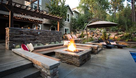 Outside Patio Bar Ideas by Stone Fire Pit Designs Patio Contemporary With Bar Bbq
