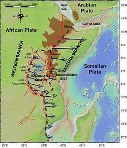 The East African Rift System Showing In Brown The Extent Of Magmatism