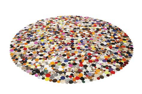 grand tapis rond pas cher tapis rond design en cuir multicolor 250x250 tapis design pas cher