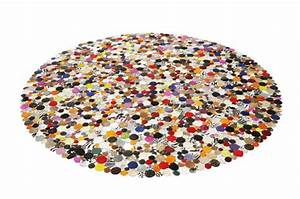 tapis rond design en cuir multicolor 250x250 tapis With tapis rond multicolore