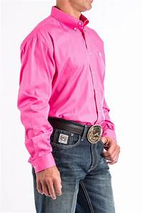 Cinch Jeans Men 39 S Solid Pink Button Down Western Shirt