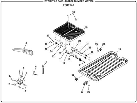 ryobi 7 tile saw assembly ryobi ws750l tile saw parts and accessories partswarehouse