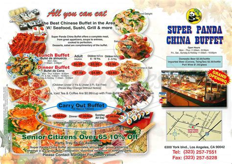 Super Panda China Buffet Menu Los Angeles Dineries