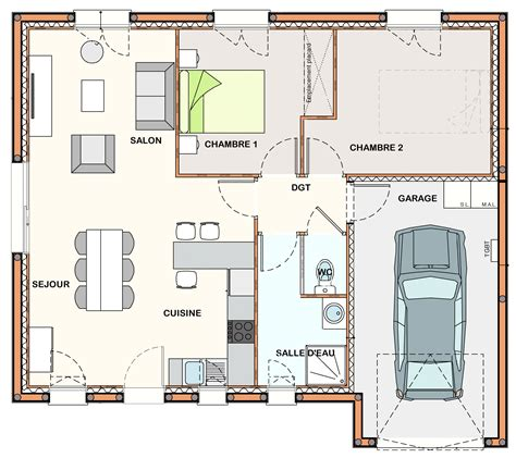 plan maison plain pied 2 chambres garage construction maison bretignolles sur mer constructeur
