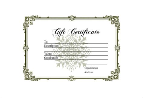 Free Downloadable Gift Certificate Templates by Blank Gift Certificate Template 13 Free Word Pdf