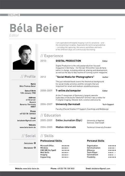 Cv Editor by Curriculum Vitae Bela Beier
