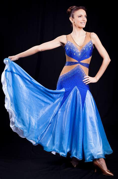 elegant sexy blue white ballroom dress