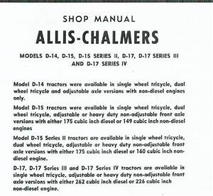 Allis Chalmers Tractor Shop Service Manual D