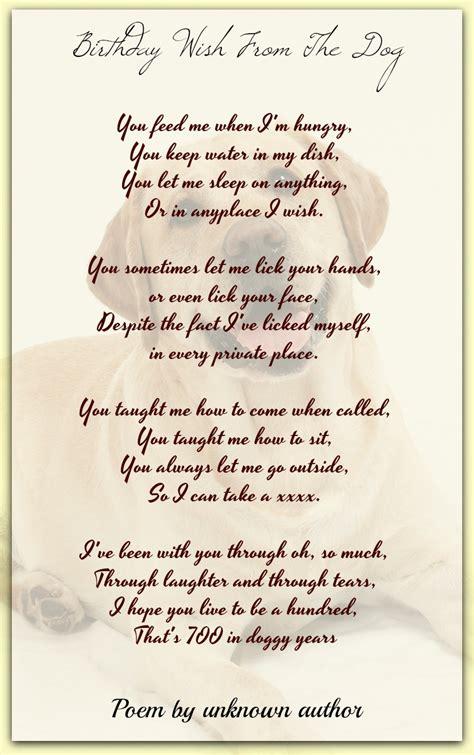 birthday    dog unknown author pet poems