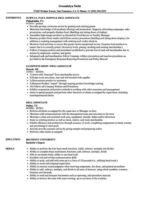Deli Resume by Deli Associate Resume Sles Velvet