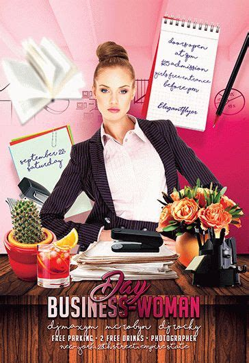 day business woman premium psd flyer template