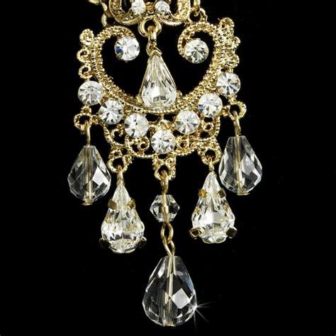gold bridal chandelier earrings e 8319